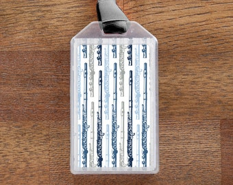 Flute Themed Musical Instrument ID Tag or Luggage Tag - Blue and Gray