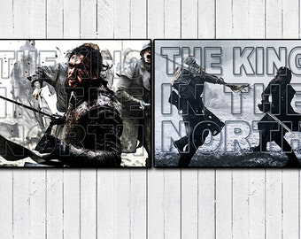 Jon Snow, King in the North Typography Posters, Game of Thrones Gift, 2 Pack Posters, House Stark, House Targaryen, ASOFAI, You Know Nothing