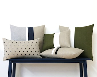 Linen Pillow Cover Set of 5 - AS SEEN in Emily Henderson's Living Room - Good Housekeeping Magazine - Pillows by Jillian Rene Decor - Olive