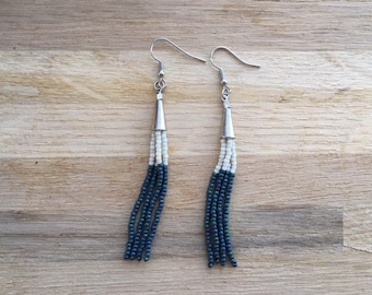 Agave and Snow Beaded Tassel Earrings