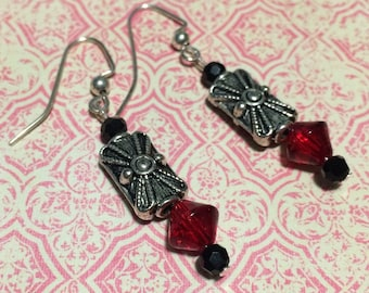 Gatsby Style Ruby and Silver Drop Earrings