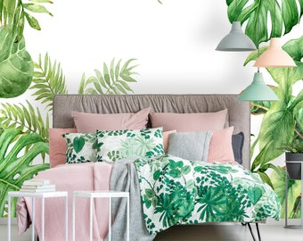 Removable Wallpaper Mural Peel & Stick Hand Drawn Branches and Leaves of Tropical Plants