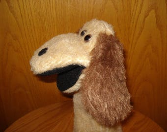 Tan Dog Hand Puppet black moveable mouth brown eyes hand sewn black felt nose brown furry ears