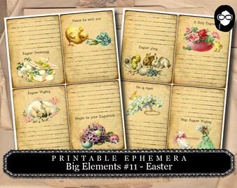 Ephemera Kit - Big Elements # 11 Easter Cards - 2 Page Instant Download -  journaling kit, art journal card, digital journal card