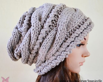 Winter Slouchy cable style beanie knit hat - Sun Buff (or CHOOSE Color) - womens - baggy - chunky - thick and extra warm - gift