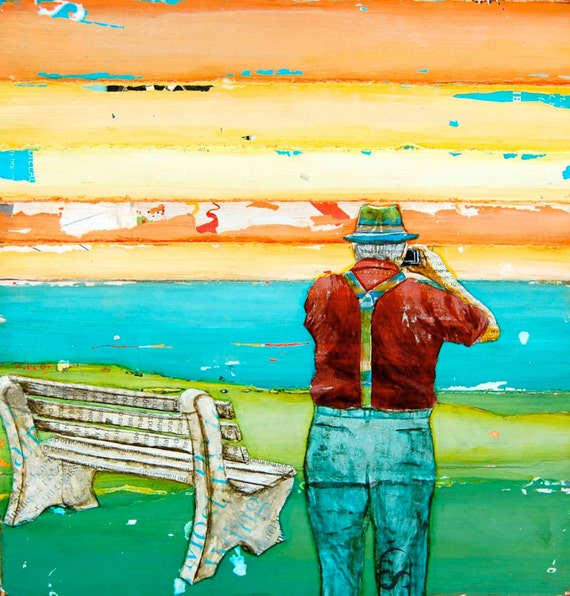 """Old Man with Camera Photographing sunrise By Bench - """"Some Things Never Grow Old"""" - Fine Art Print , All Sizes"""
