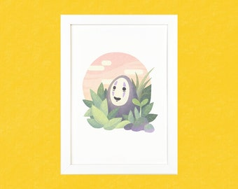 Spirited Away Cute No Face Luxury Digital Art Illustration Print - A5 or A4