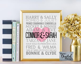 PRINTABLE Personalized Famous Couples Wall Art / Subway Print / Wedding Anniversary Gift / Valentine's Day / Home Decor / JPEG File