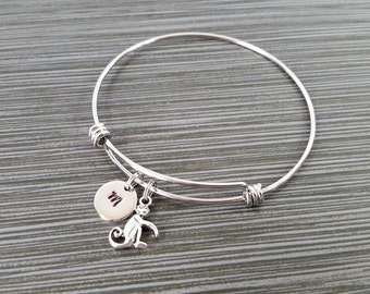 Monkey Bangle - Monkey Charm Bracelet - Expandable Bangle - Charm Bangle - Monkey Bracelet - Initial Bracelet - Chimp Bracelet
