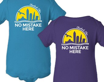No Mistake Here Purple and Turquoise Cleveland Onesies