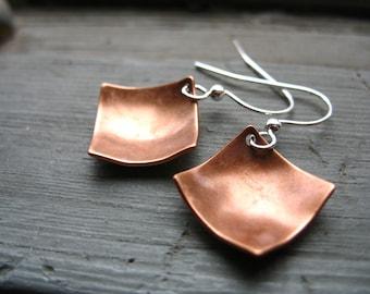 Copper earrings, Diamond Copper Dome Earrings, Handmade Copper Dangle Drop Earrings, Copper Jewelry