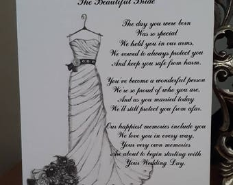Handmade Personalised A5 Card To A Daughter On Her Wedding Card Hand Drawn Design (276)