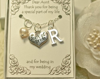 AW, Aunt of Bride Necklace with Color Motiff and Initial, Personalized Aunt Necklace, Aunt of Bride Gift, Aunt's Necklace, Aunt Gift, Aunts