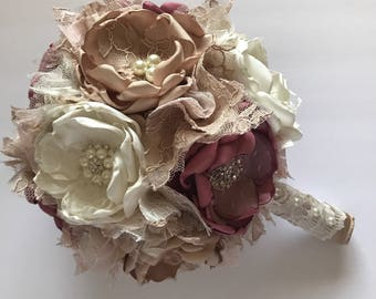 Fabric Flower Bouquet - Mauve, Cream and Champagne - Shown in Large Size - Handmade Fabric Bouquet, Dusty Pink, Pink and Champagne Bouquet
