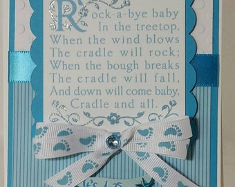 Handcrafted Baby shower  ( baby boy ) card