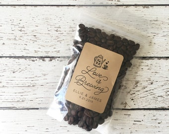 Wedding Coffee Favor Bag and Label, Personalized Wedding Coffee Favors, Love is Brewing Coffee Label and Bag, Set of 24