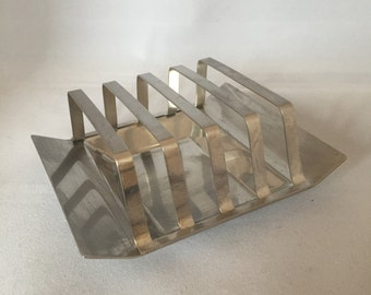 Vintage Retro Modernist 1960s 60s 1970s 70s stainless steel square toast rack