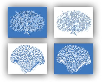 Coral Sea fan prints, blue Nautical prints, modern vintage inspired, bathroom wall decor, cottage beach decoration, set of 4 prints 14x11