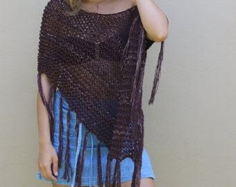 Brown poncho, hand knit cotton viscose women's poncho, loose knitted poncho, loose weave wrap, open knit beach cover up, boho knit poncho