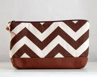 Brown Chevron Wide Padded Zipper Pouch Gadget Case Cosmetics Bag - READY TO SHIP