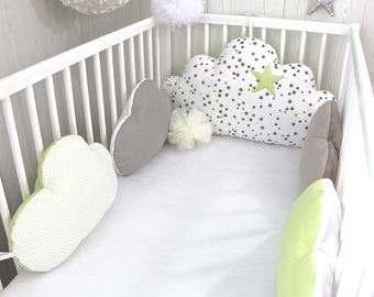Cot bumpers 5 cloud pillows, anis green and taupe color