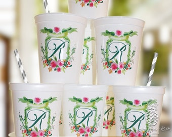 Monogram Crest | Customizable Party Favor Cups |  Wedding, Engagement Bridal Parties, Baby Shower or Birthday | social graces and Co