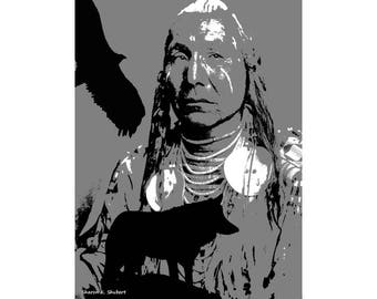 Native American Man Art, Wolf Eagle, Southwestern Tribal, Wolves Silhouette, Eagle Indian, Gray Black Wall Hanging, Home Decor, Giclee Print