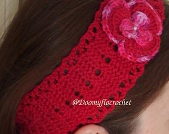 Valentine day red cotton headband for women