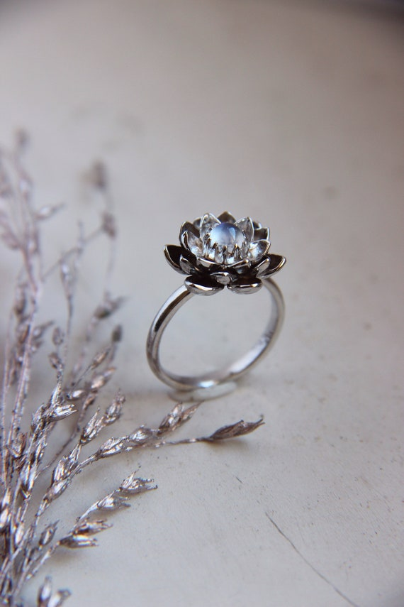Moonstone engagement ring, white gold ring, lotus ring, moonstone ring, flower ring, blue gemstone ring, proposal ring, flower ring, unique