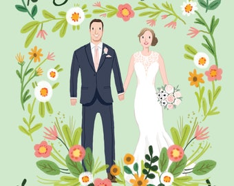 Custom Illustrated Save the Date Card - Digital File Only