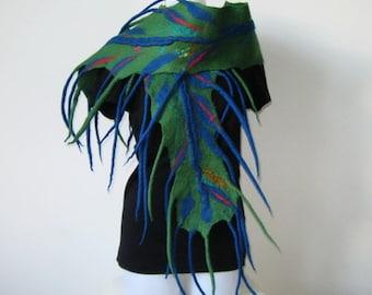 Felted Scarf Wrap Shawl Felt Green Blue