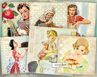 Cooking Cards 1 - set of 6 - digital collage sheet - Printable Download