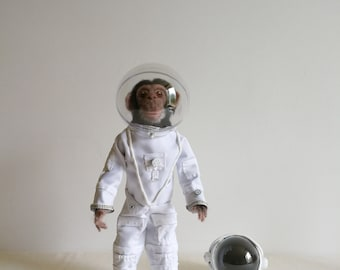 Art doll, doll art doll collection, monkey astronaut needle felted sculpture