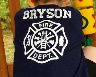 Kids Fire Dept shirt - Personalized