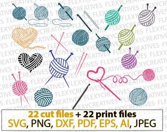 Crochet svg, knit svg, knitting svg, yarn svg, yarn ball, crochet needle clipart, cricut, vector svg, Cut File, png,  DXF, pdf, EPS #vc-117