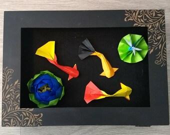 Origami Koi Pond Scene in Shadow Box