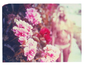 Girl and Flowers Print Polaroid Photography Pastel Fine Art 11x14 print