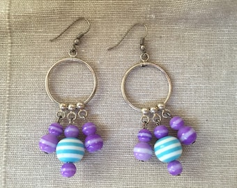 Dangly Beads on Hoops Earrings