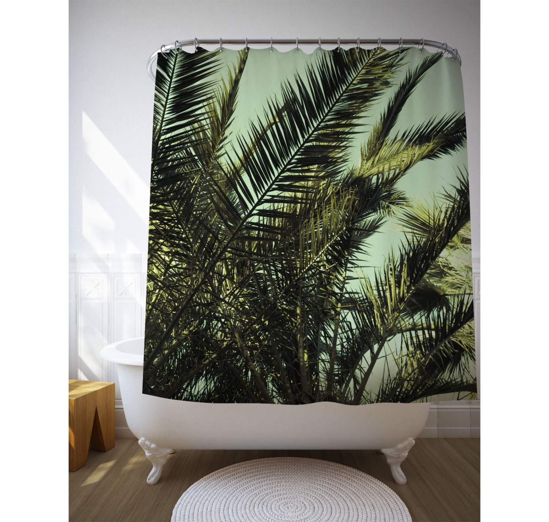Palm Leaf Shower Curtain Bath Accessories Tropical