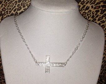 Diamond Sideways Cross Necklace