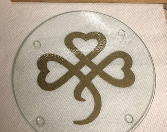 St. Patrick's Day Shamrock Heart Trivet- Cutting Board, Hot Plate, and Cheese Plate