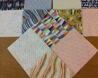 """9 (nine) - Modern Scrappy Quilt Blocks - 9.5"""" sized - SATURDAY MORNING Collection by Moda Fabrics"""
