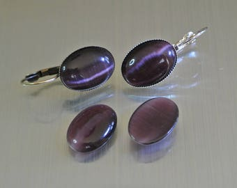 Pair of oval cabochons 18 x 13 x 3 mm Amethyst cat's eye glass