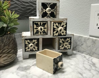 Apothecary Spice Cabinet Black & White with 6 Ceramic Drawer Herb Storage Box Distressed Farmhouse Country Cabinet Item #606952449