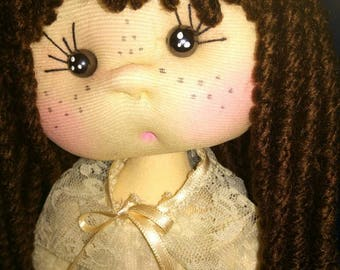 Unique soft type doll totally handmade, hand made, gift, 1 communion, wedding, gotic doll, reduced offer 40%