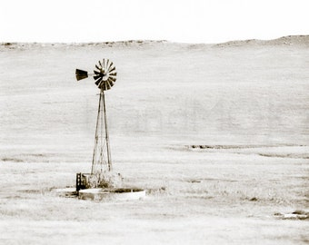Windmill landscape Photography rural midwest field dustbowl kansas farm wheat minimal small town sepia - Windswept - fine art photograph