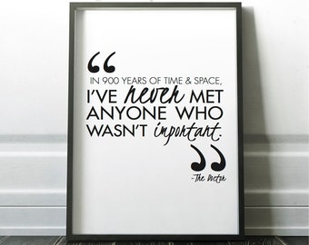 Doctor Who Quote Wall Art - Home Decor - INSTANT DOWNLOAD