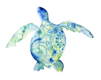 Turtle Print - Watercolour Painting