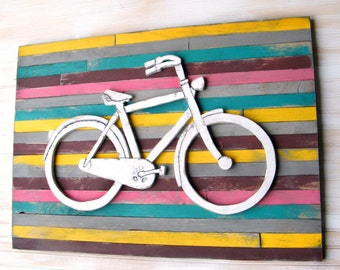 Bicycle Art Pallet Background Large Bicycle Wall Decor Wooden Bike Sign