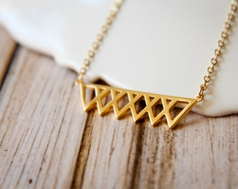 Layered Triangle Bar Necklace, Available in Gold and Silver